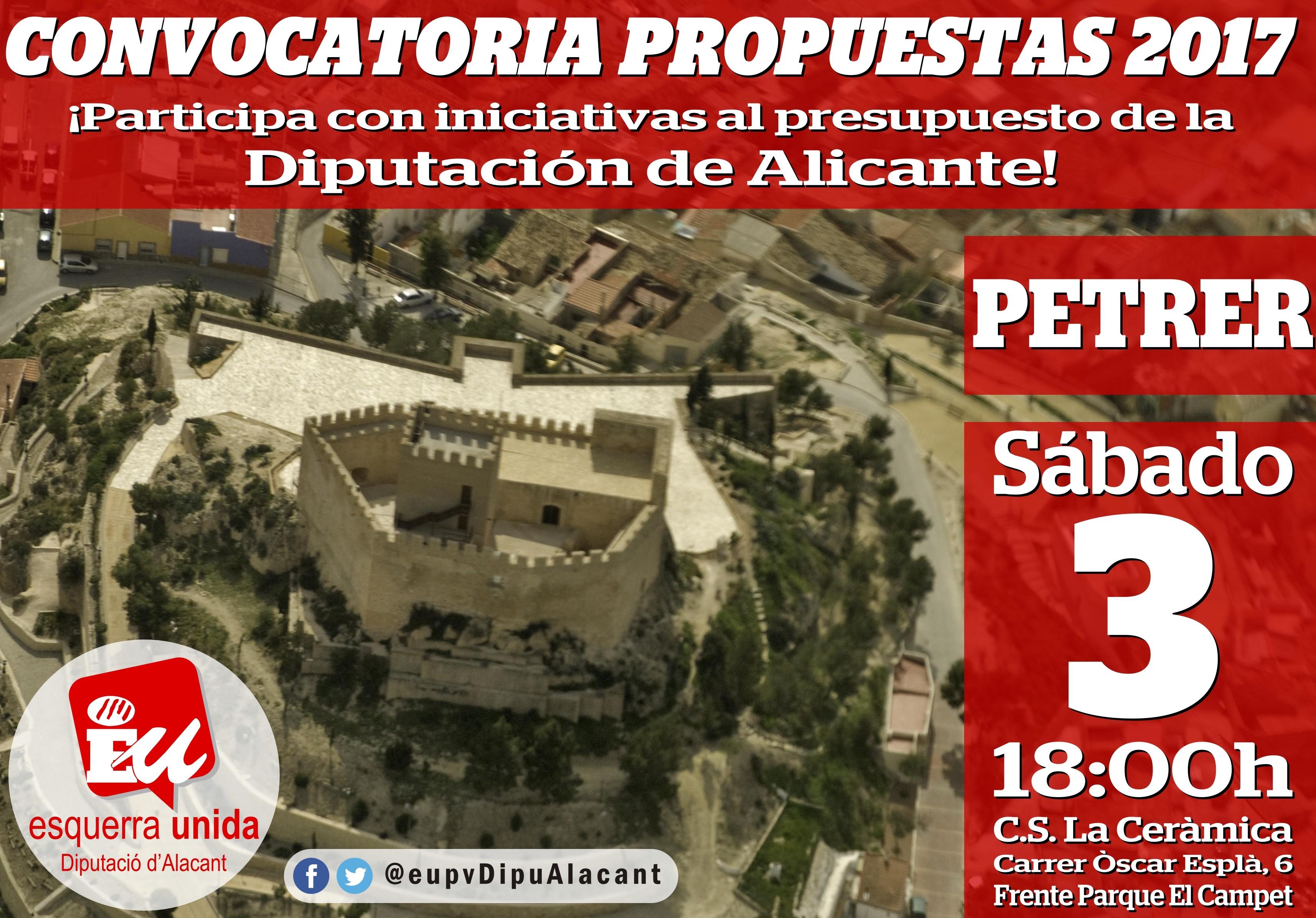 Un centenar de representants de diferents ajuntaments d'Alacant es donen cita demà per a presentar propostes al pressupost de la Diputació