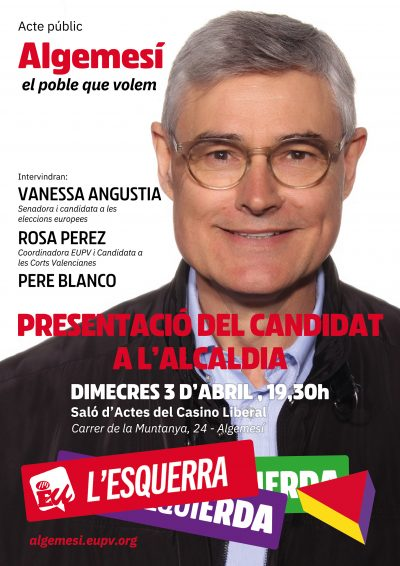 Pere Blanco, candidat a l'alcaldia d'Algemesí