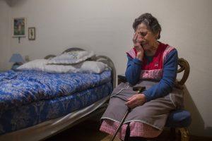 Carmen Martinez Ayudo, 85, cries during her eviction in Madrid, Spain, Friday, Nov. 21, 2014 desahucios / desahuciada