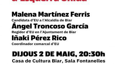 Photo of Esquerra Unida Biar presentarà la seua candidatura municipal demà dijous
